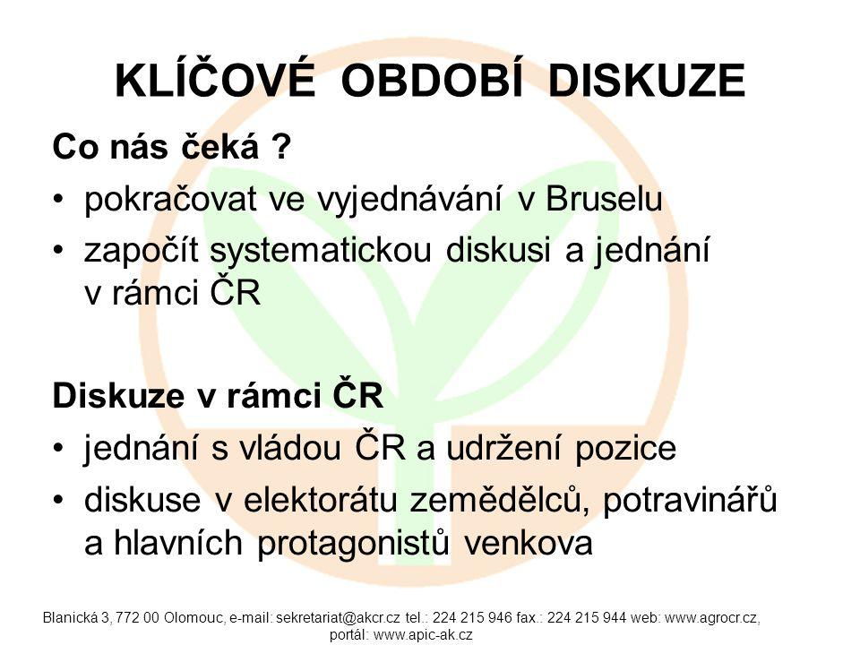 Blanická 3, 772 00 Olomouc, e-mail: sekretariat@akcr.cz tel.: 224 215 946 fax.: 224 215 944 web: www.agrocr.cz, portál: www.apic-ak.cz ABSOLUTNÍ PRIORITY Efektivní alokace prostředků se zřetelem na zvýšení konkurenceschopnosti a výkonnosti českého zemědělství a potravinářství.