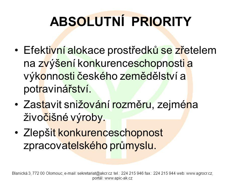 Blanická 3, 772 00 Olomouc, e-mail: sekretariat@akcr.cz tel.: 224 215 946 fax.: 224 215 944 web: www.agrocr.cz, portál: www.apic-ak.cz ABSOLUTNÍ PRIOR