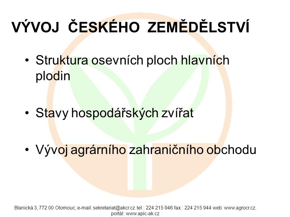 Blanická 3, 772 00 Olomouc, e-mail: sekretariat@akcr.cz tel.: 224 215 946 fax.: 224 215 944 web: www.agrocr.cz, portál: www.apic-ak.cz VÝVOJ ČESKÉHO ZEMĚDĚLSTVÍ Struktura osevních ploch hlavních plodin Stavy hospodářských zvířat Vývoj agrárního zahraničního obchodu