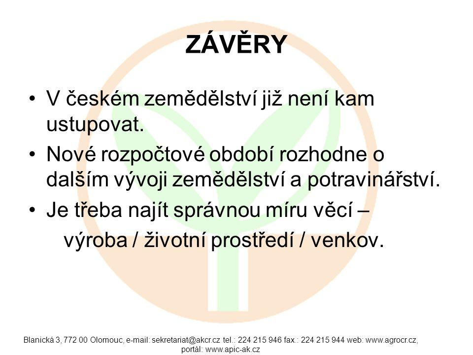 Blanická 3, 772 00 Olomouc, e-mail: sekretariat@akcr.cz tel.: 224 215 946 fax.: 224 215 944 web: www.agrocr.cz, portál: www.apic-ak.cz ZÁVĚRY V českém zemědělství již není kam ustupovat.
