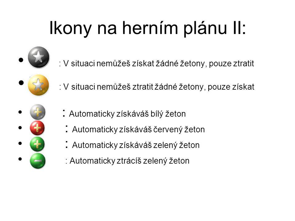 Ikony na herním plánu II: *- : V situaci nemůžeš získat žádné žetony, pouze ztratit *+ : V situaci nemůžeš ztratit žádné žetony, pouze získat +b : Automaticky získáváš bílý žeton +č : Automaticky získáváš červený žeton +z : Automaticky získáváš zelený žeton -z : Automaticky ztrácíš zelený žeton