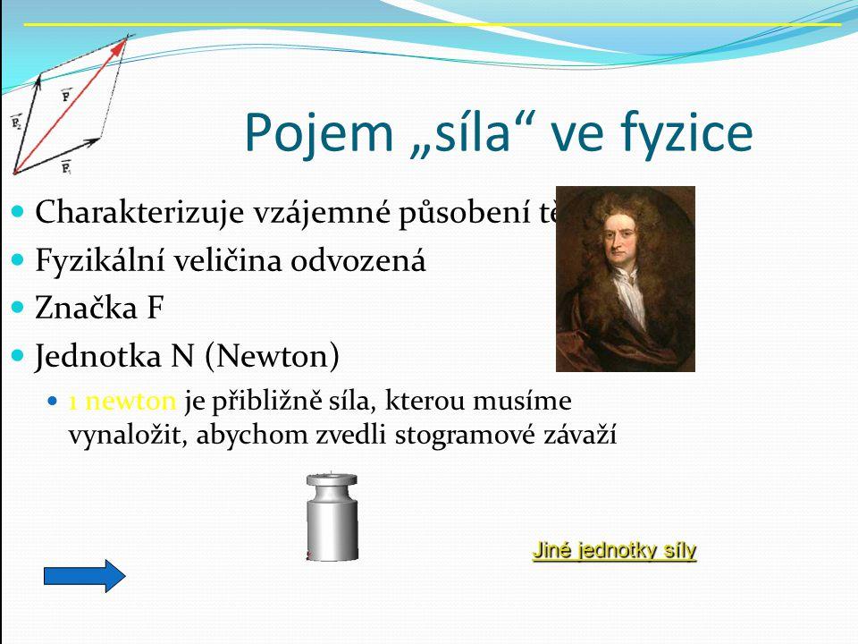 """Pojem """"síla"""" ve fyzice Charakterizuje vzájemné působení těles Fyzikální veličina odvozená Značka F Jednotka N (Newton) 1 newton je přibližně síla, kte"""