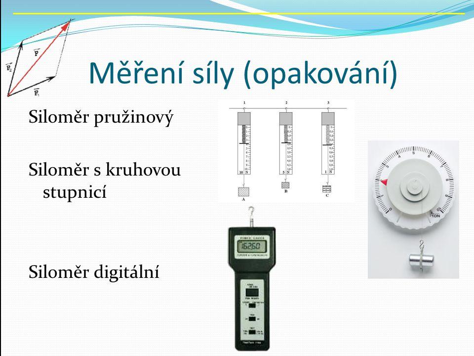 Měření síly (opakování) Siloměr pružinový Siloměr s kruhovou stupnicí Siloměr digitální
