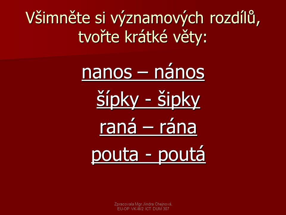 Příklady vět: NNNNanos dříví do sklepa.SSSSnažil se odstranit nános špíny.