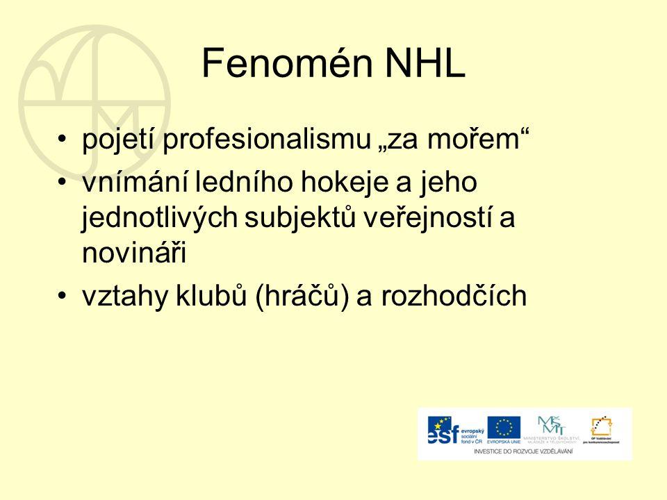 """Fenomén NHL pojetí profesionalismu """"za mořem vnímání ledního hokeje a jeho jednotlivých subjektů veřejností a novináři vztahy klubů (hráčů) a rozhodčích"""