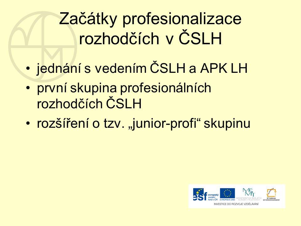 Začátky profesionalizace rozhodčích v ČSLH jednání s vedením ČSLH a APK LH první skupina profesionálních rozhodčích ČSLH rozšíření o tzv.