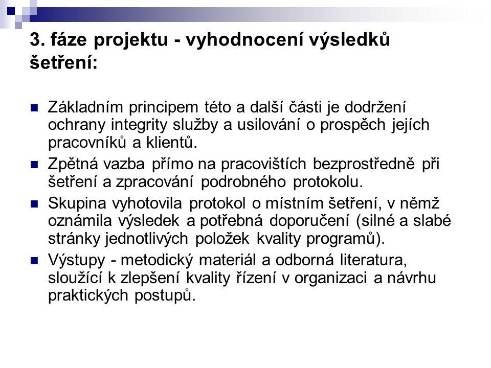 3. fáze projektu - vyhodnocení výsledků šetření: Základním principem této a další části je dodržení ochrany integrity služby a usilování o prospěch je