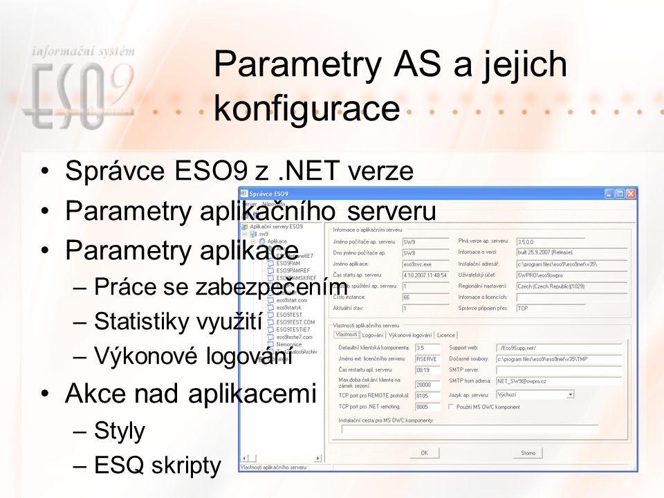 Parametry AS a jejich konfigurace Správce ESO9 z.NET verze Parametry aplikačního serveru Parametry aplikace –Práce se zabezpečením –Statistiky využití –Výkonové logování Akce nad aplikacemi –Styly –ESQ skripty