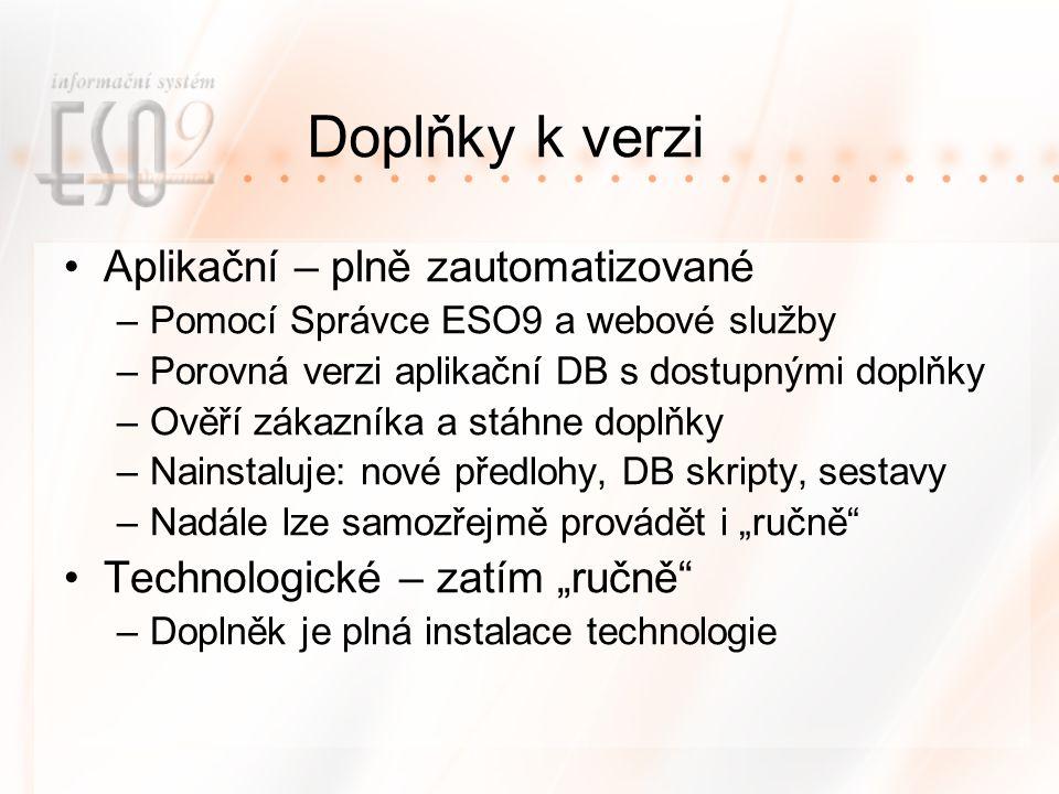 """Doplňky k verzi Aplikační – plně zautomatizované –Pomocí Správce ESO9 a webové služby –Porovná verzi aplikační DB s dostupnými doplňky –Ověří zákazníka a stáhne doplňky –Nainstaluje: nové předlohy, DB skripty, sestavy –Nadále lze samozřejmě provádět i """"ručně Technologické – zatím """"ručně –Doplněk je plná instalace technologie"""