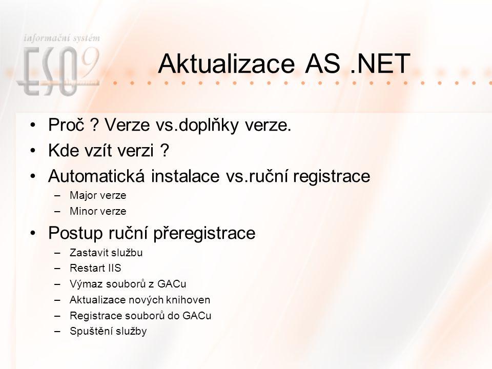 Aktualizace AS.NET Proč .Verze vs.doplňky verze. Kde vzít verzi .