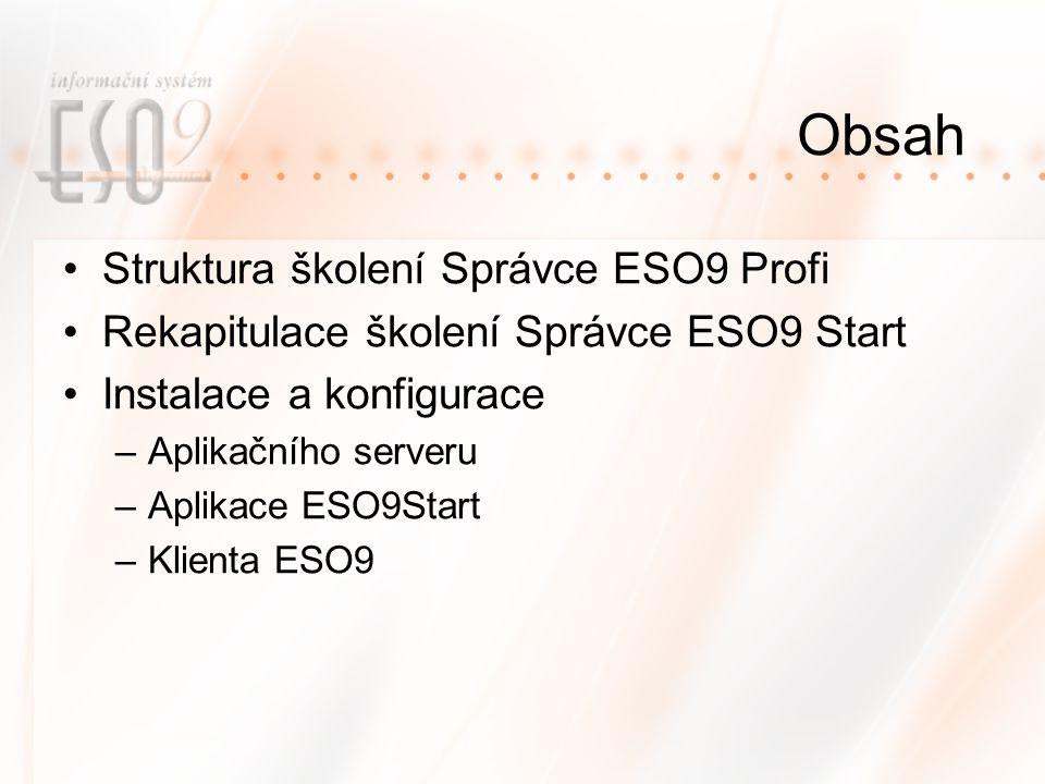 Obsah Struktura školení Správce ESO9 Profi Rekapitulace školení Správce ESO9 Start Instalace a konfigurace –Aplikačního serveru –Aplikace ESO9Start –Klienta ESO9