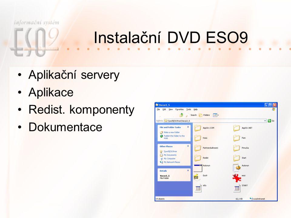 Instalační DVD ESO9 Aplikační servery Aplikace Redist. komponenty Dokumentace