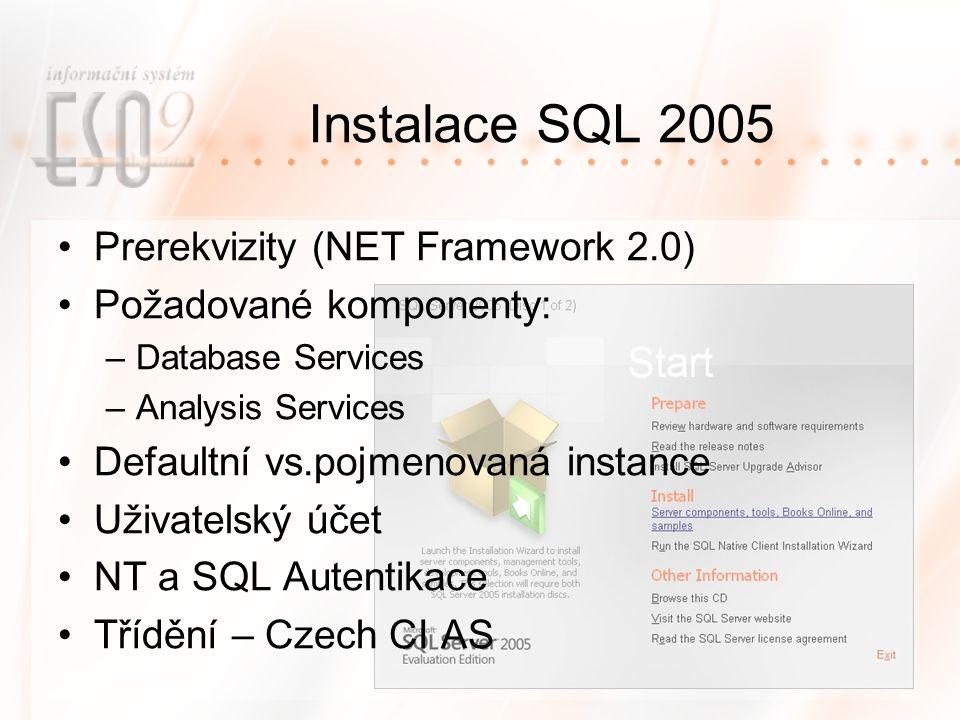 Instalace SQL 2005 Prerekvizity (NET Framework 2.0) Požadované komponenty: –Database Services –Analysis Services Defaultní vs.pojmenovaná instance Uživatelský účet NT a SQL Autentikace Třídění – Czech CI AS