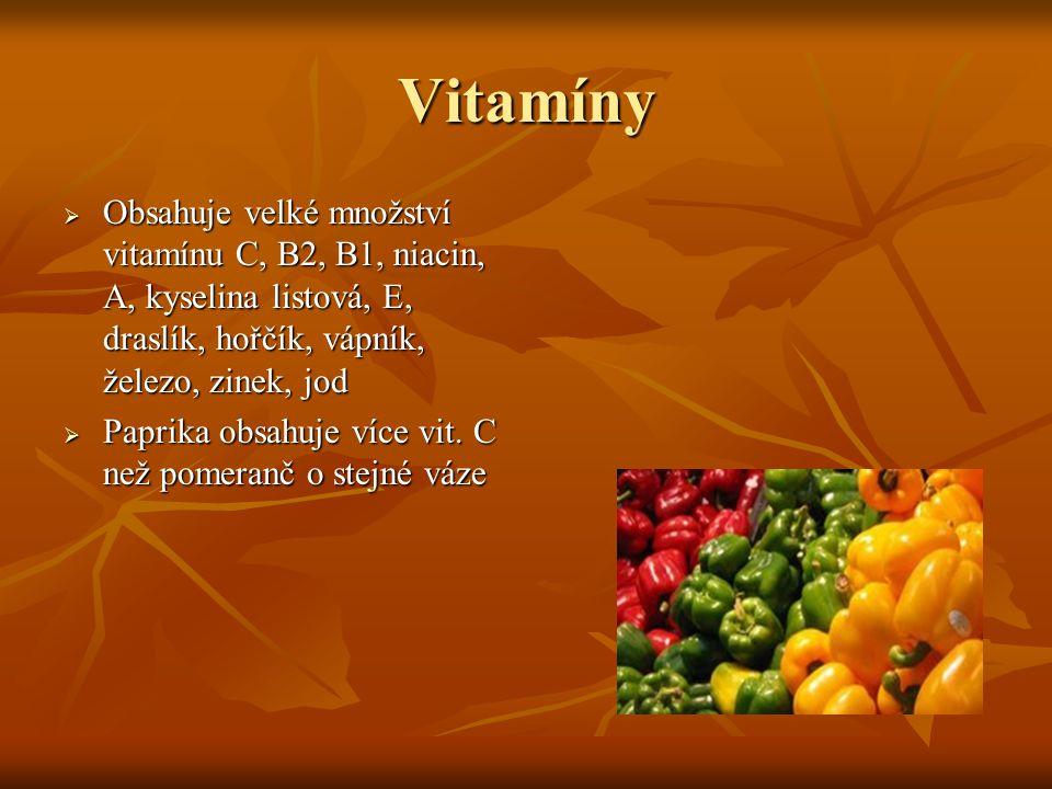 Vitamíny  Obsahuje velké množství vitamínu C, B2, B1, niacin, A, kyselina listová, E, draslík, hořčík, vápník, železo, zinek, jod  Paprika obsahuje více vit.