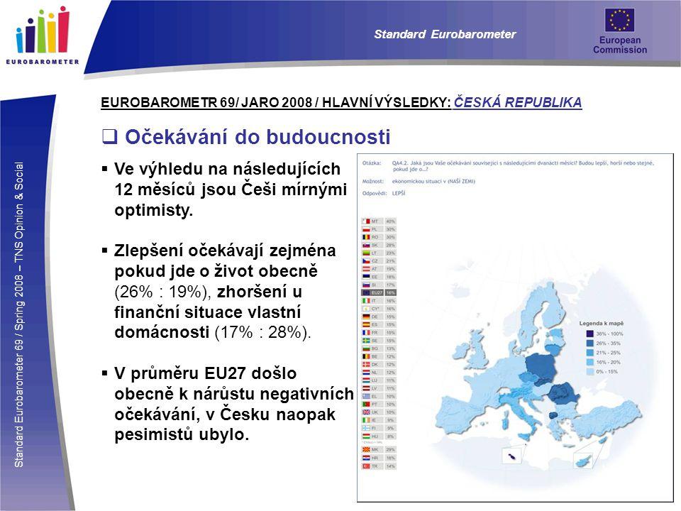 Standard Eurobarometer 69 / Spring 2008 – TNS Opinion & Social Standard Eurobarometer EUROBAROMETR 69/ JARO 2008 / HLAVNÍ VÝSLEDKY: ČESKÁ REPUBLIKA  Očekávání do budoucnosti  Ve výhledu na následujících 12 měsíců jsou Češi mírnými optimisty.
