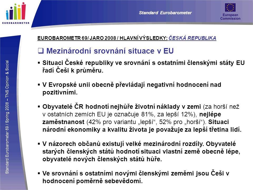 Standard Eurobarometer 69 / Spring 2008 – TNS Opinion & Social Standard Eurobarometer EUROBAROMETR 69/ JARO 2008 / HLAVNÍ VÝSLEDKY: ČESKÁ REPUBLIKA  Mezinárodní srovnání situace v EU  Situaci České republiky ve srovnání s ostatními členskými státy EU řadí Češi k průměru.