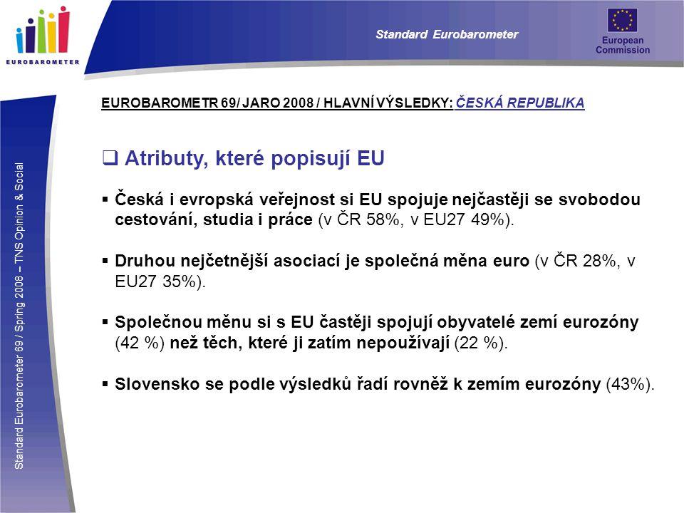 Standard Eurobarometer 69 / Spring 2008 – TNS Opinion & Social Standard Eurobarometer EUROBAROMETR 69/ JARO 2008 / HLAVNÍ VÝSLEDKY: ČESKÁ REPUBLIKA  Poměry v EU  Češi jsou velmi skeptičtí, pokud jde o vnímání vlivu své země na záležitosti EU.