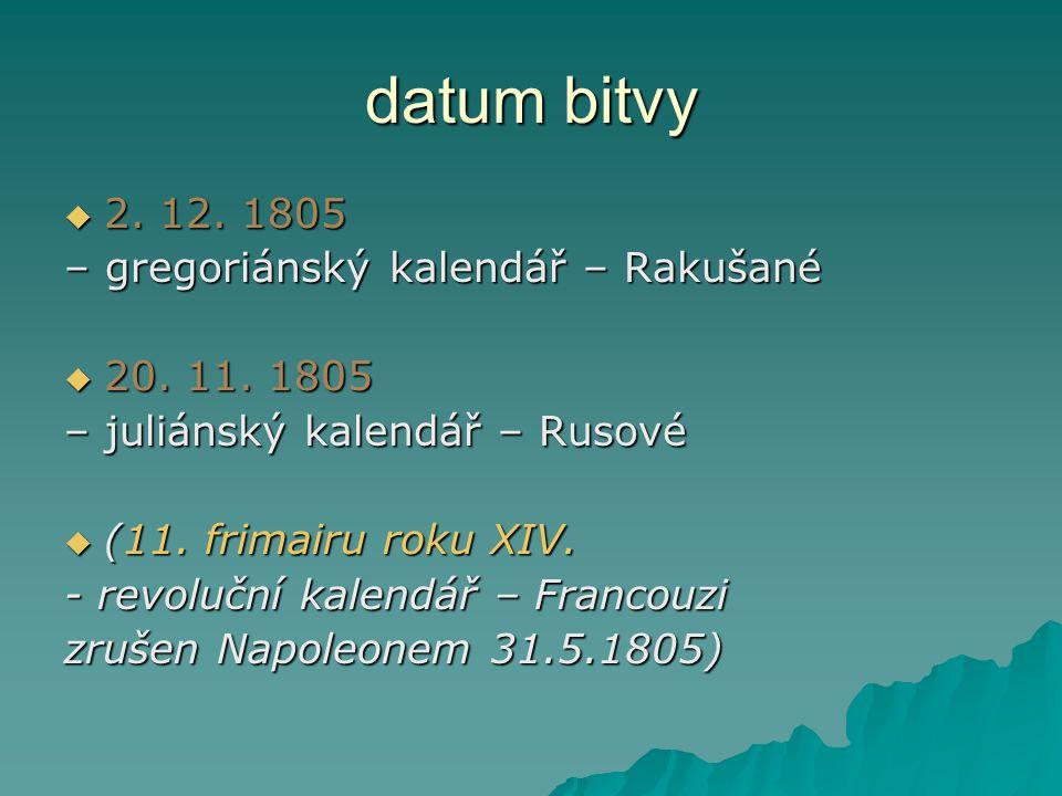 datum bitvy  2. 12. 1805 – gregoriánský kalendář – Rakušané  20. 11. 1805 – juliánský kalendář – Rusové  (11. frimairu roku XIV. - revoluční kalend
