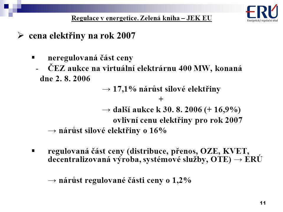 11 Regulace v energetice. Zelená kniha – JEK EU  cena elektřiny na rok 2007  neregulovaná část ceny -ČEZ aukce na virtuální elektrárnu 400 MW, konan