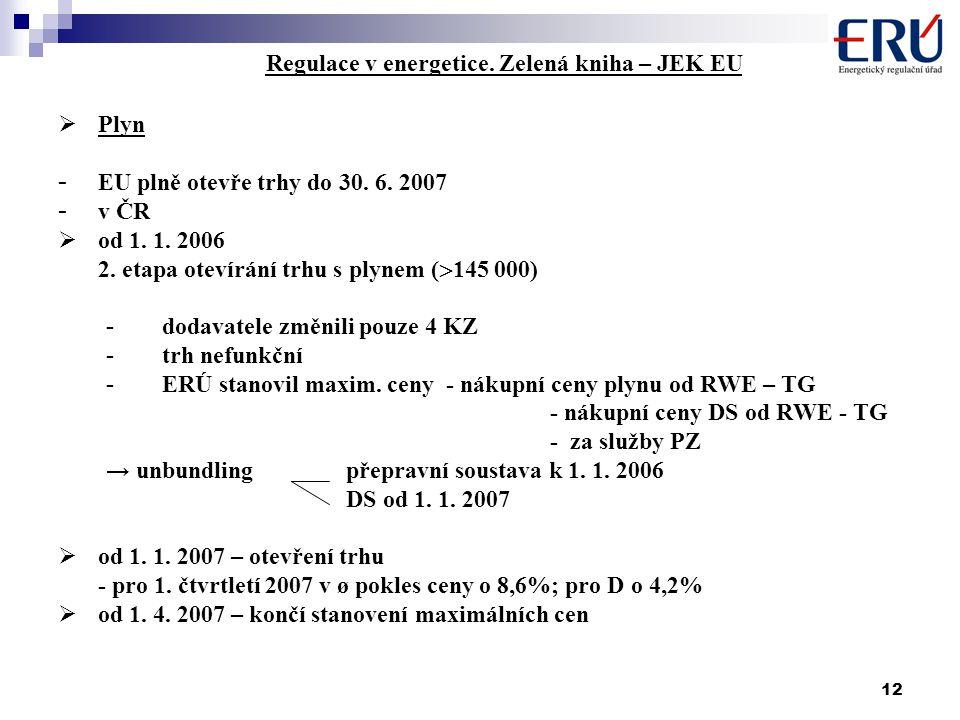 12 Regulace v energetice. Zelená kniha – JEK EU  Plyn - EU plně otevře trhy do 30. 6. 2007 - v ČR  od 1. 1. 2006 2. etapa otevírání trhu s plynem (