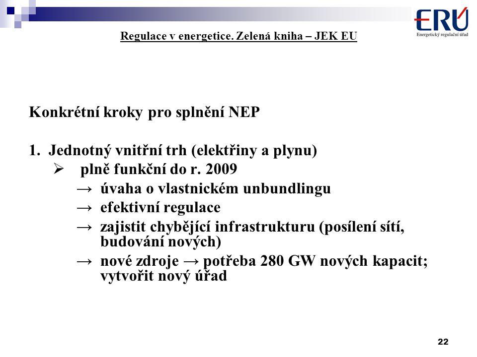 22 Regulace v energetice. Zelená kniha – JEK EU Konkrétní kroky pro splnění NEP 1.Jednotný vnitřní trh (elektřiny a plynu)  plně funkční do r. 2009 →
