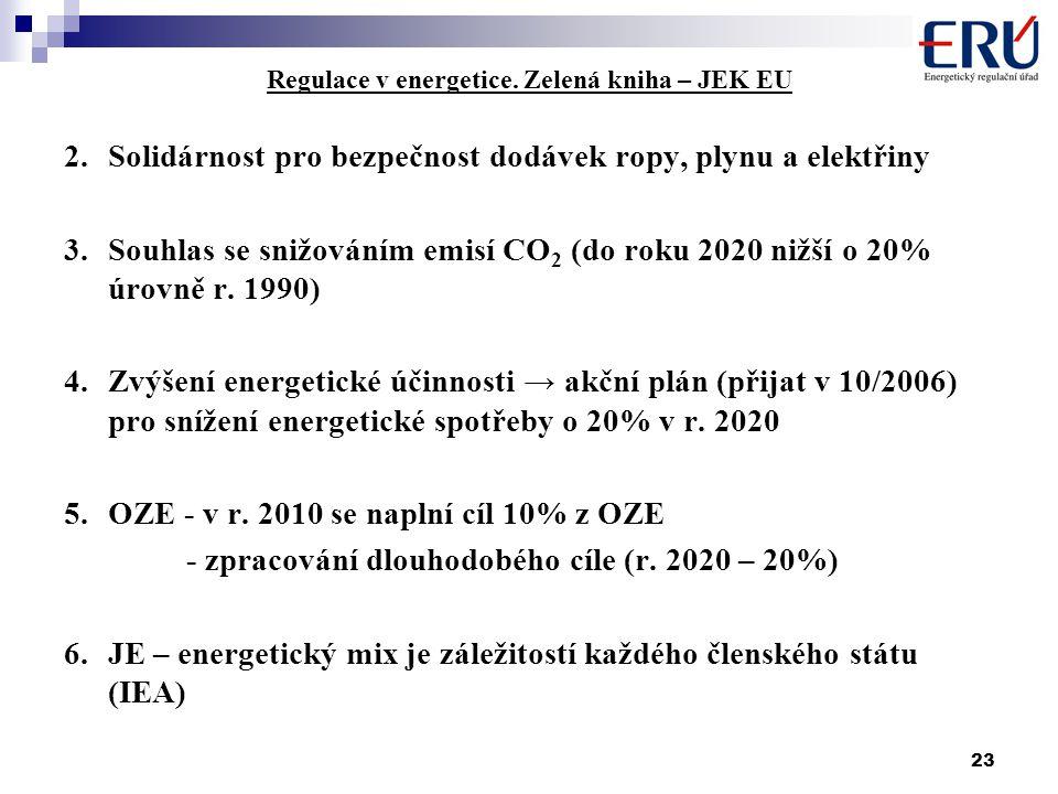 23 Regulace v energetice. Zelená kniha – JEK EU 2.Solidárnost pro bezpečnost dodávek ropy, plynu a elektřiny 3.Souhlas se snižováním emisí CO 2 (do ro