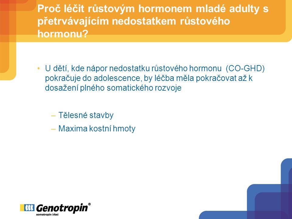 Pokračování léčby GH u mladých dospělých účinek na stavbu těla změny 0-2 yr (%) Opěrná tělesná hmota Tuková hmota Prospektivní, randomizovaná 2-letá studie u pacientů kteří dokončili pediatrickou léčbu GH ke konečné výšce Pediatrická dávka GH (25µg/kg/d) versus dávka u adultů (12.5µg/kg/d) versus žádná GH léčba Attanasio A et al., J Clin Endocrinol Metab 89:4857 (2004)