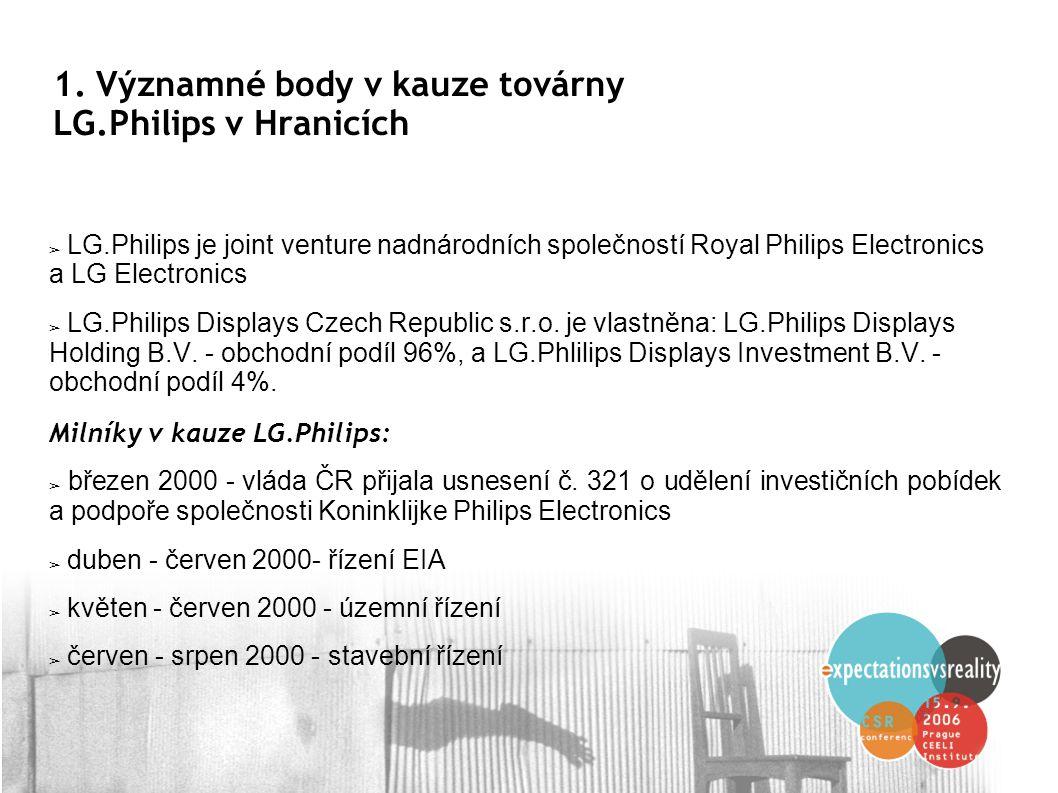 1. Významné body v kauze továrny LG.Philips v Hranicích ➢ LG.Philips je joint venture nadnárodních společností Royal Philips Electronics a LG Electron