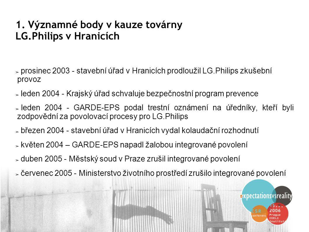 1. Významné body v kauze továrny LG.Philips v Hranicích ➢ prosinec 2003 - stavební úřad v Hranicích prodloužil LG.Philips zkušební provoz ➢ leden 2004