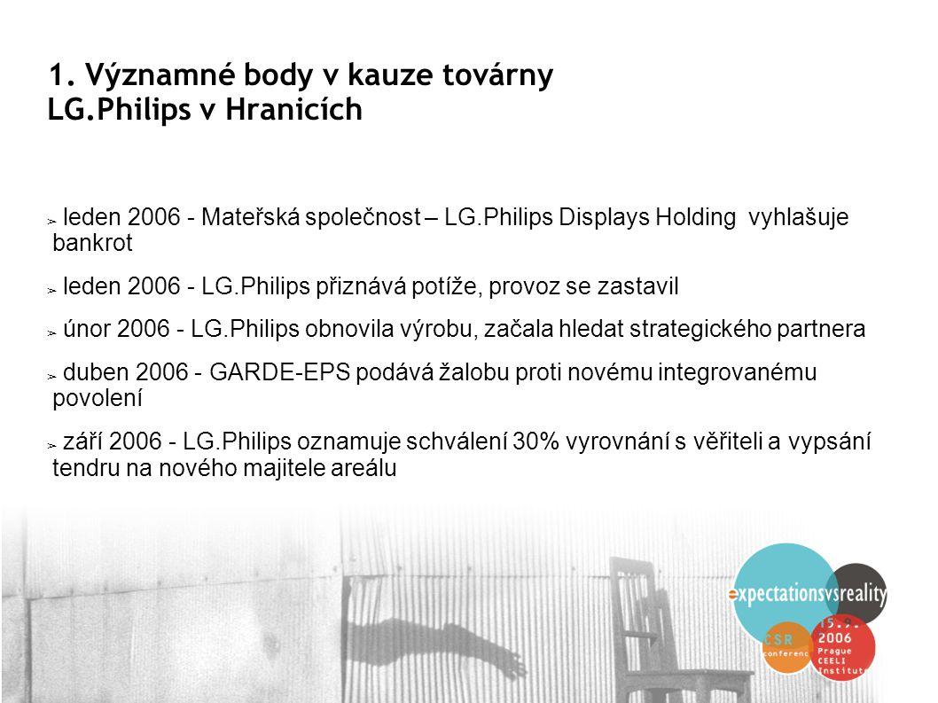 1. Významné body v kauze továrny LG.Philips v Hranicích ➢ leden 2006 - Mateřská společnost – LG.Philips Displays Holding vyhlašuje bankrot ➢ leden 200