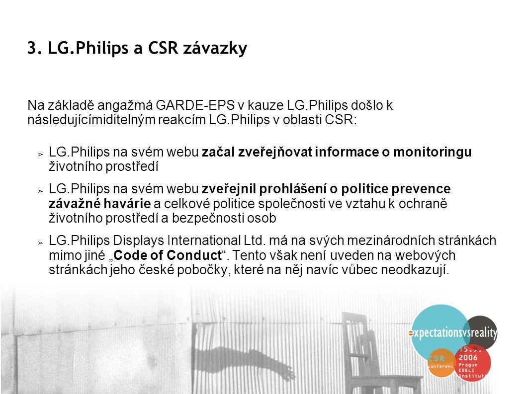 3. LG.Philips a CSR závazky ➢ LG.Philips na svém webu začal zveřejňovat informace o monitoringu životního prostředí ➢ LG.Philips na svém webu zveřejni