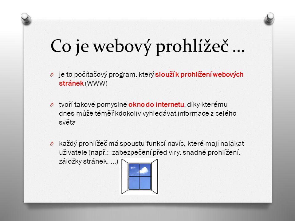 Co je webový prohlížeč … O je to počítačový program, který slouží k prohlížení webových stránek (WWW) O tvoří takové pomyslné okno do internetu, díky