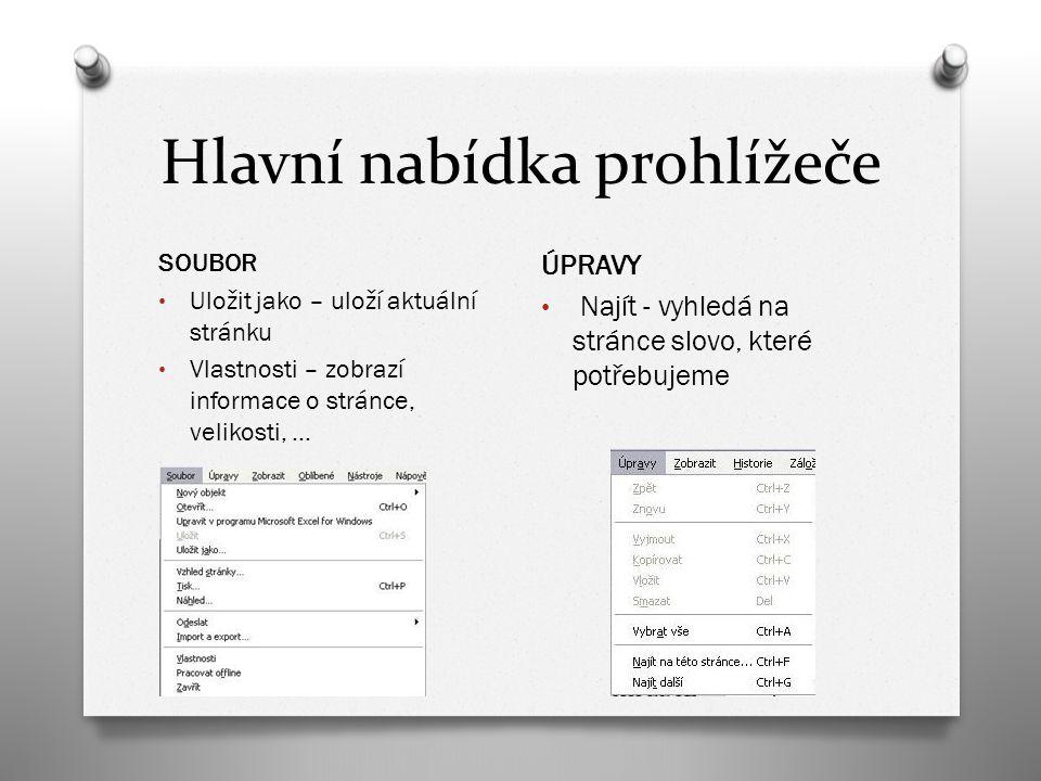 Hlavní nabídka prohlížeče SOUBOR Uložit jako – uloží aktuální stránku Vlastnosti – zobrazí informace o stránce, velikosti, … ÚPRAVY Najít - vyhledá na