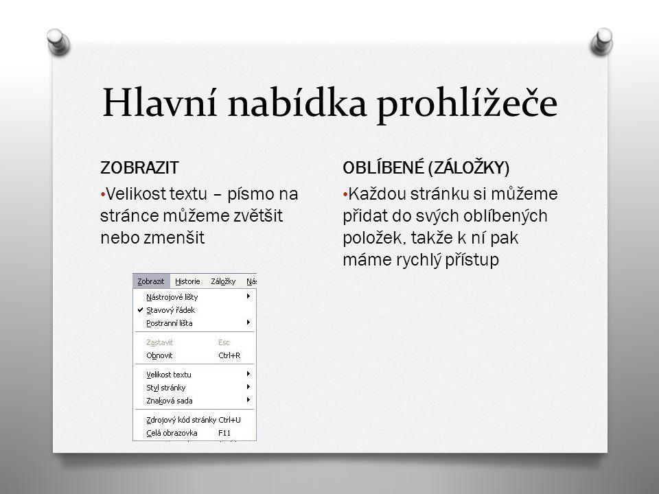 Hlavní nabídka prohlížeče ZOBRAZIT Velikost textu – písmo na stránce můžeme zvětšit nebo zmenšit OBLÍBENÉ (ZÁLOŽKY) Každou stránku si můžeme přidat do