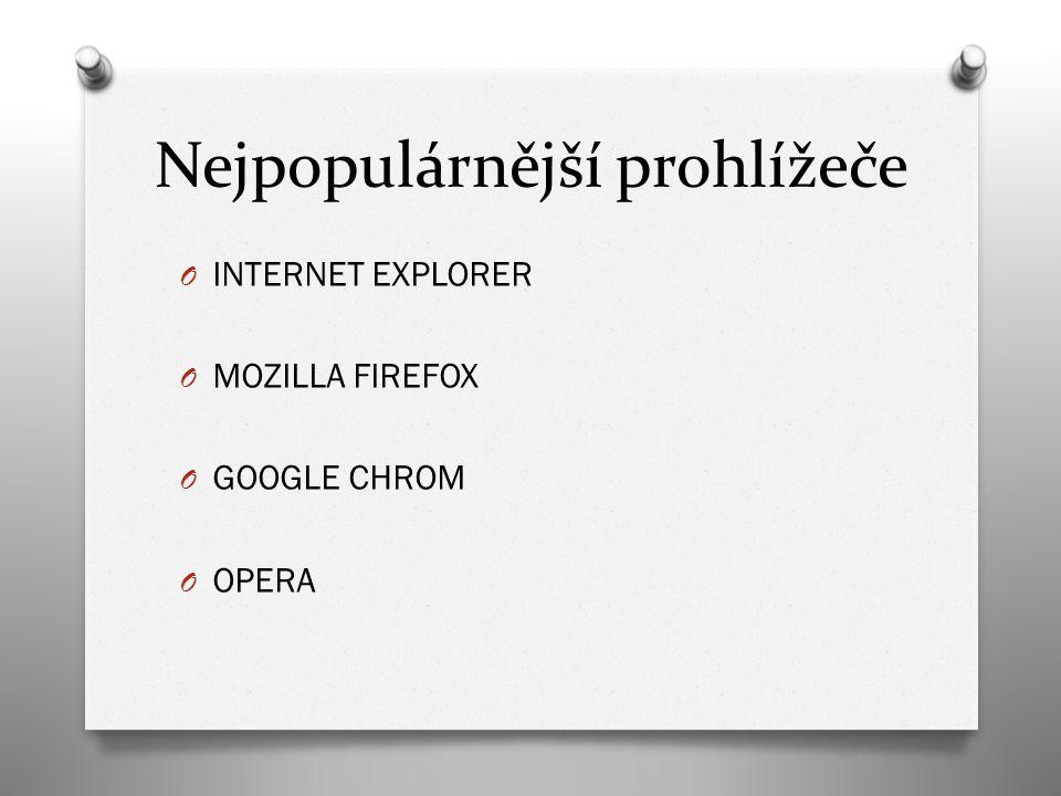 Nejpopulárnější prohlížeče O INTERNET EXPLORER O MOZILLA FIREFOX O GOOGLE CHROM O OPERA