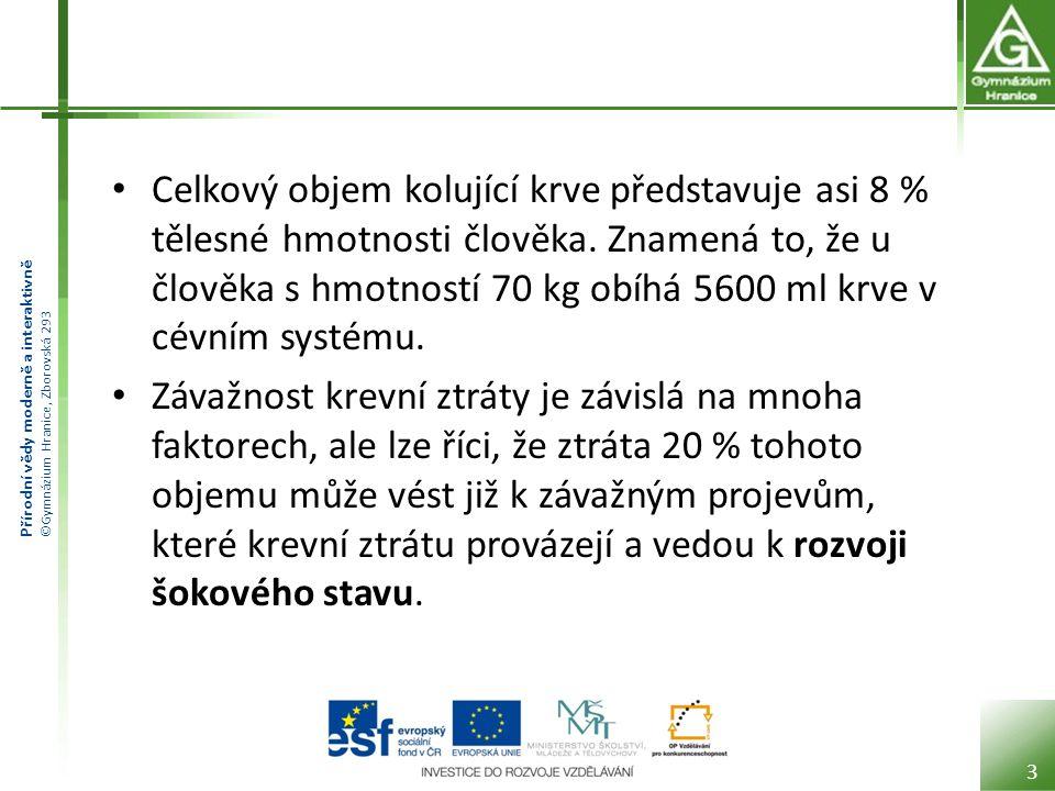 Přírodní vědy moderně a interaktivně ©Gymnázium Hranice, Zborovská 293 Celkový objem kolující krve představuje asi 8 % tělesné hmotnosti člověka.