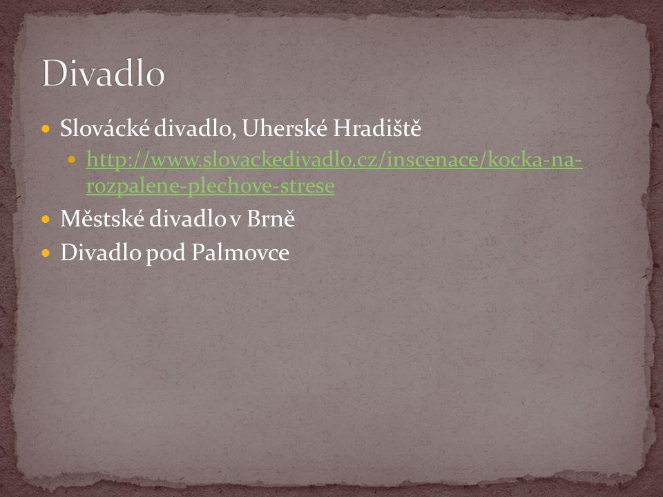 Slovácké divadlo, Uherské Hradiště http://www.slovackedivadlo.cz/inscenace/kocka-na- rozpalene-plechove-strese http://www.slovackedivadlo.cz/inscenace/kocka-na- rozpalene-plechove-strese Městské divadlo v Brně Divadlo pod Palmovce