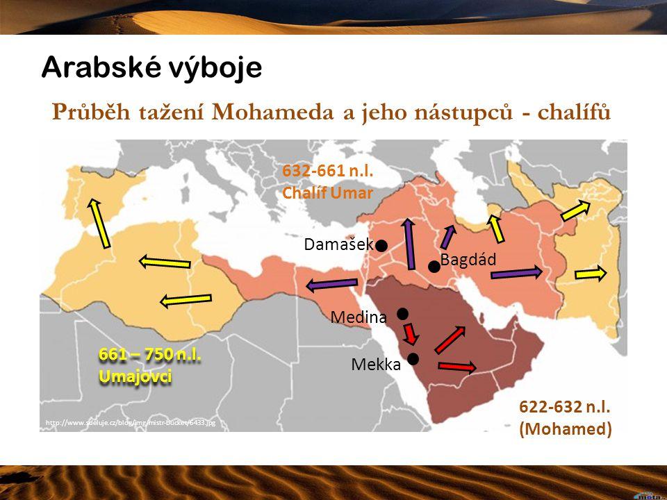Arabské výboje Průběh tažení Mohameda a jeho nástupců - chalífů Mekka http://www.sdeluje.cz/blog/img/mistr-bucket/6433.jpg 622-632 n.l. (Mohamed) 632-