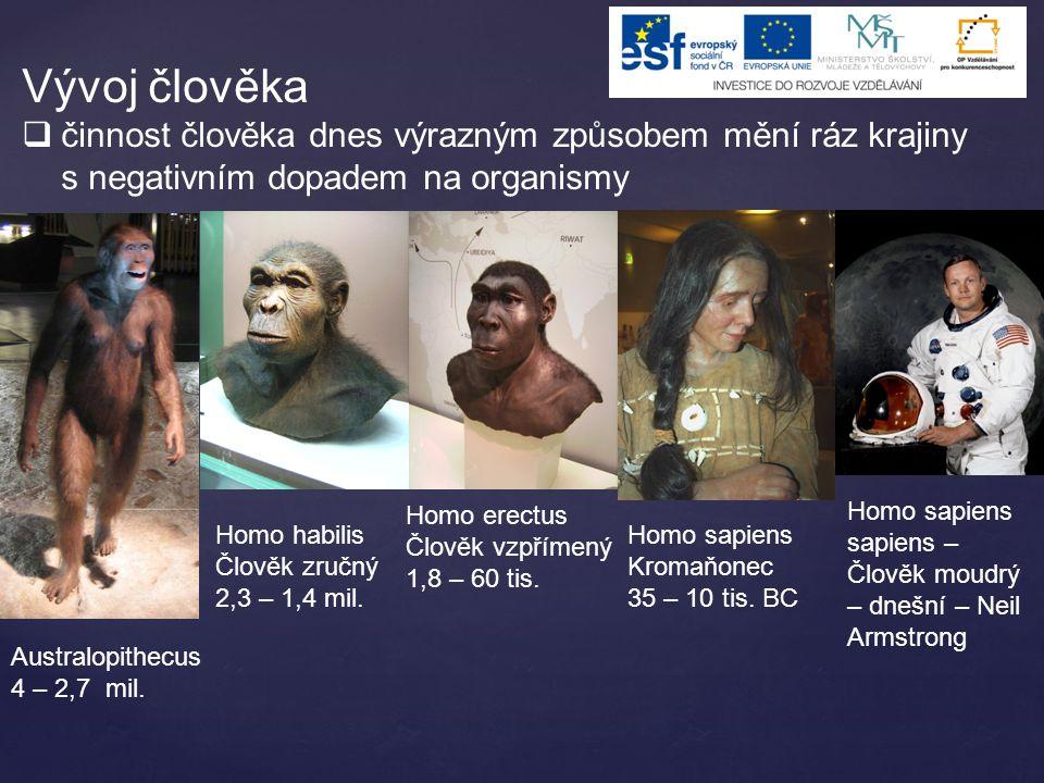 Vývoj člověka  činnost člověka dnes výrazným způsobem mění ráz krajiny s negativním dopadem na organismy Australopithecus 4 – 2,7 mil. Homo habilis Č