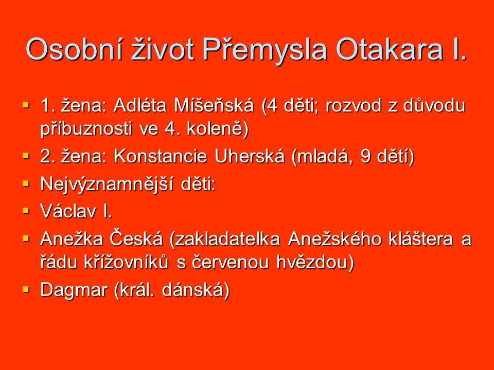 Osobní život Přemysla Otakara I. 1.