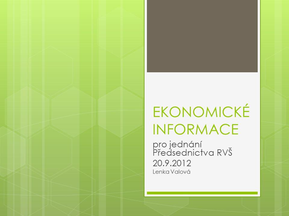 EKONOMICKÉ INFORMACE pro jednání Předsednictva RVŠ 20.9.2012 Lenka Valová