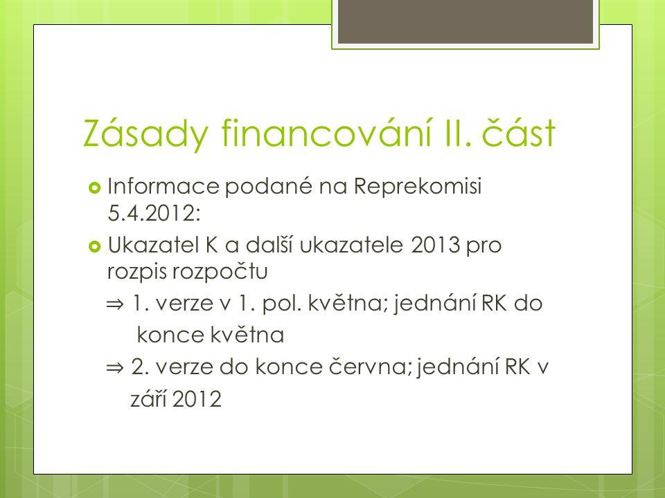 Zásady financování II.