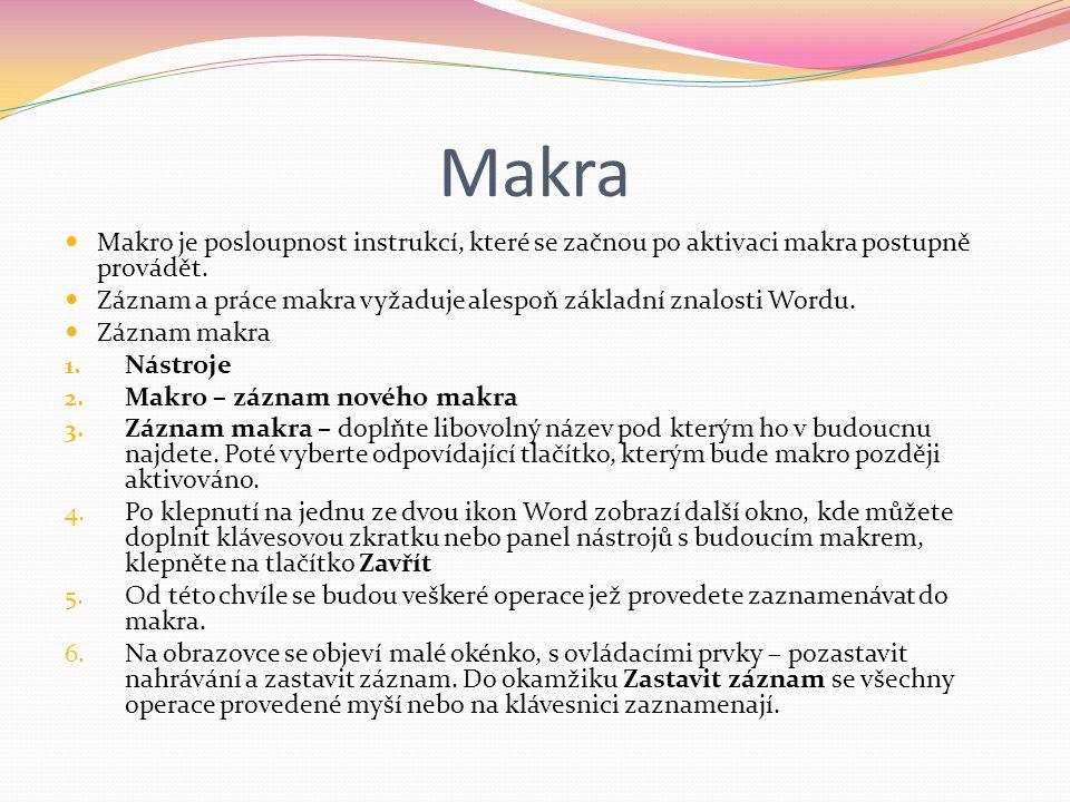 Tvorba obsahu a rejstříku U delších dokumentů – publikací, brožur apod..