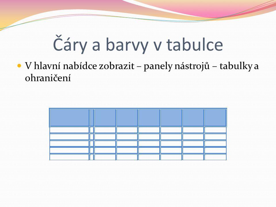 Čáry a barvy v tabulce V hlavní nabídce zobrazit – panely nástrojů – tabulky a ohraničení