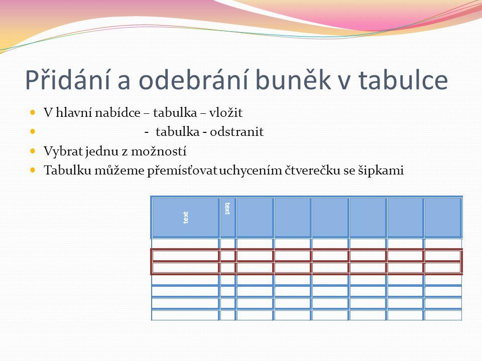 Přidání a odebrání buněk v tabulce V hlavní nabídce – tabulka – vložit - tabulka - odstranit Vybrat jednu z možností Tabulku můžeme přemísťovat uchyce