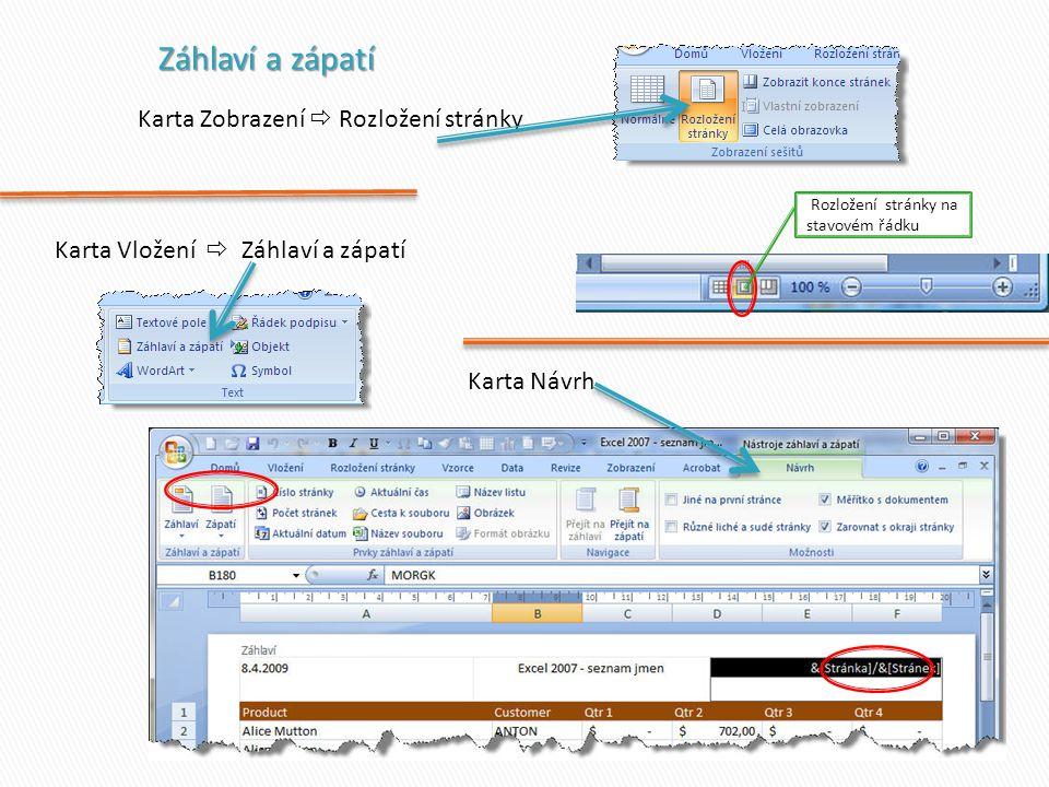 Karta Zobrazení  Rozložení stránky Karta Vložení  Záhlaví a zápatí Karta Návrh Rozložení stránky na stavovém řádku
