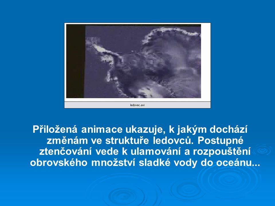 Přiložená animace ukazuje, k jakým dochází změnám ve struktuře ledovců.