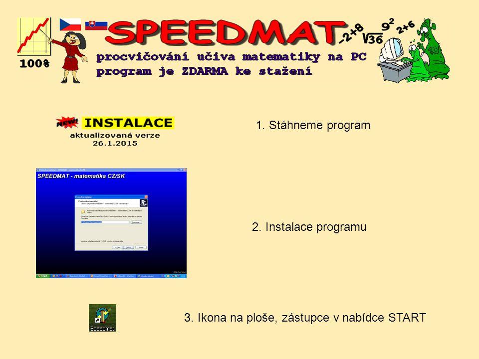 2. Instalace programu 1. Stáhneme program 3. Ikona na ploše, zástupce v nabídce START