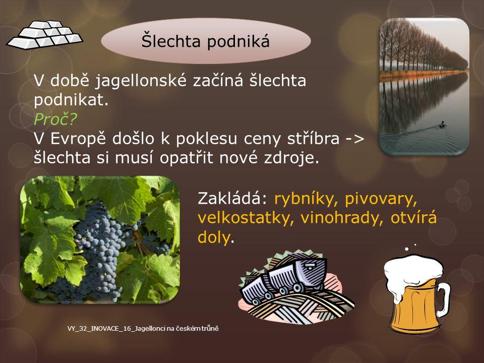 V době jagellonské začíná šlechta podnikat. Proč? V Evropě došlo k poklesu ceny stříbra -> šlechta si musí opatřit nové zdroje. Zakládá: rybníky, pivo