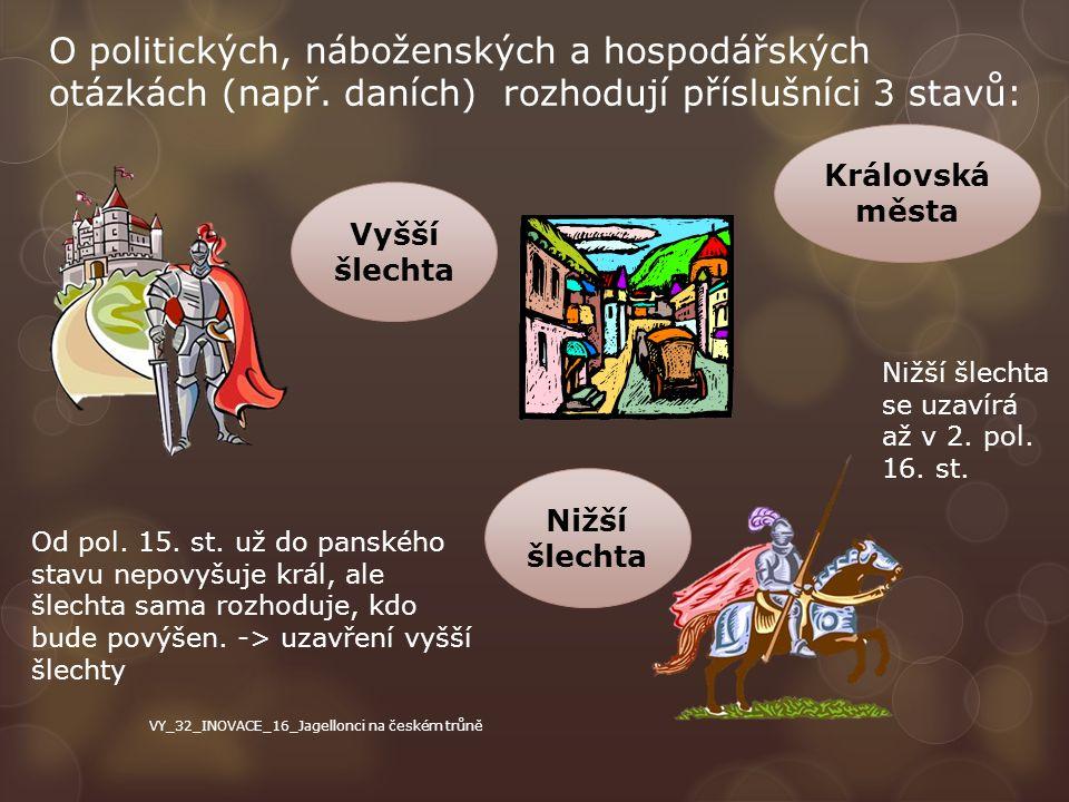 O politických, náboženských a hospodářských otázkách (např. daních) rozhodují příslušníci 3 stavů: Vyšší šlechta Královská města Nižší šlechta Od pol.